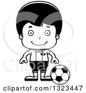 Lineart Clipart Of A Cartoon Black And White Happy Hispanic Boy Soccer Player Royalty Free Outline Vector Illustration
