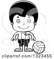 Lineart Clipart Of A Cartoon Black And White Happy Hispanic Boy Volleyball Player Royalty Free Outline Vector Illustration