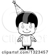 Lineart Clipart Of A Cartoon Black And White Happy Hispanic Wizard Boy Royalty Free Outline Vector Illustration