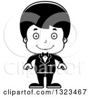 Lineart Clipart Of A Cartoon Black And White Happy Hispanic Boy Groom Royalty Free Outline Vector Illustration