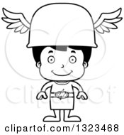 Lineart Clipart Of A Cartoon Black And White Happy Hispanic Hermes Boy Royalty Free Outline Vector Illustration