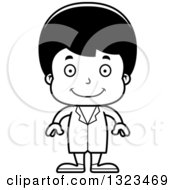 Lineart Clipart Of A Cartoon Black And White Happy Hispanic Boy Doctor Royalty Free Outline Vector Illustration