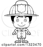 Lineart Clipart Of A Cartoon Black And White Happy Hispanic Boy Firefighter Royalty Free Outline Vector Illustration