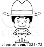Lineart Clipart Of A Cartoon Black And White Happy Hispanic Cowboy Royalty Free Outline Vector Illustration