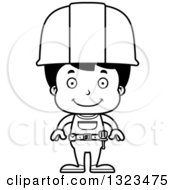 Cartoon Black And White Happy Hispanic Boy Construction Worker