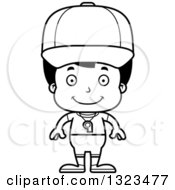 Lineart Clipart Of A Cartoon Black And White Happy Hispanic Boy Sports Coach Royalty Free Outline Vector Illustration