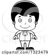 Lineart Clipart Of A Cartoon Black And White Happy Hispanic Business Boy Royalty Free Outline Vector Illustration