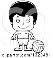 Lineart Clipart Of A Cartoon Black And White Happy Hispanic Boy Beach Volleyball Player Royalty Free Outline Vector Illustration