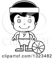 Lineart Clipart Of A Cartoon Black And White Happy Hispanic Boy Basketball Player Royalty Free Outline Vector Illustration