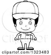 Lineart Clipart Of A Cartoon Black And White Happy Hispanic Boy Baseball Player Royalty Free Outline Vector Illustration