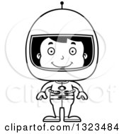 Lineart Clipart Of A Cartoon Black And White Happy Hispanic Boy Astronaut Royalty Free Outline Vector Illustration