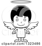 Lineart Clipart Of A Cartoon Black And White Happy Hispanic Boy Angel Royalty Free Outline Vector Illustration