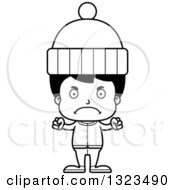 Lineart Clipart Of A Cartoon Black And White Mad Hispanic Boy In Winter Clothes Royalty Free Outline Vector Illustration