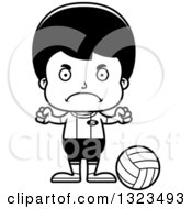 Lineart Clipart Of A Cartoon Black And White Mad Hispanic Boy Volleyball Player Royalty Free Outline Vector Illustration