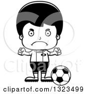 Lineart Clipart Of A Cartoon Black And White Mad Hispanic Boy Soccer Player Royalty Free Outline Vector Illustration
