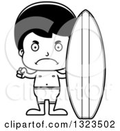 Lineart Clipart Of A Cartoon Black And White Mad Hispanic Surfer Boy Royalty Free Outline Vector Illustration