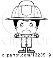 Lineart Clipart Of A Cartoon Black And White Mad Hispanic Boy Firefighter Royalty Free Outline Vector Illustration