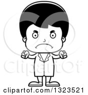 Lineart Clipart Of A Cartoon Black And White Mad Hispanic Boy Doctor Royalty Free Outline Vector Illustration