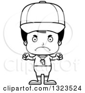 Lineart Clipart Of A Cartoon Black And White Mad Hispanic Boy Sports Coach Royalty Free Outline Vector Illustration