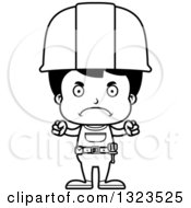 Cartoon Black And White Mad Hispanic Boy Construction Worker