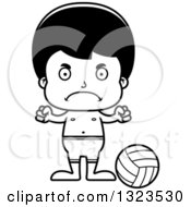 Lineart Clipart Of A Cartoon Black And White Mad Hispanic Boy Beach Volleyball Player Royalty Free Outline Vector Illustration