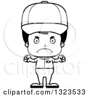 Lineart Clipart Of A Cartoon Black And White Mad Hispanic Boy Baseball Player Royalty Free Outline Vector Illustration