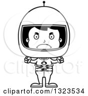 Lineart Clipart Of A Cartoon Black And White Mad Hispanic Boy Astronaut Royalty Free Outline Vector Illustration