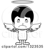 Lineart Clipart Of A Cartoon Black And White Mad Hispanic Boy Angel Royalty Free Outline Vector Illustration