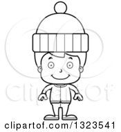 Lineart Clipart Of A Cartoon Black And White Happy Boy In Winter Clothes Royalty Free Outline Vector Illustration
