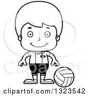 Lineart Clipart Of A Cartoon Black And White Happy Boy Volleyball Player Royalty Free Outline Vector Illustration