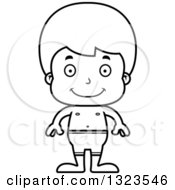 Lineart Clipart Of A Cartoon Black And White Happy Boy Swimmer Royalty Free Outline Vector Illustration