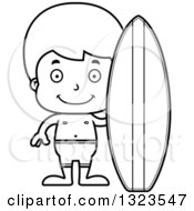 Lineart Clipart Of A Cartoon Black And White Happy Surfer Boy Royalty Free Outline Vector Illustration