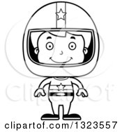 Lineart Clipart Of A Cartoon Black And White Happy Boy Race Car Driver Royalty Free Outline Vector Illustration