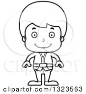 Lineart Clipart Of A Cartoon Black And White Happy Karate Boy Royalty Free Outline Vector Illustration