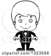 Lineart Clipart Of A Cartoon Black And White Happy Boy Groom Royalty Free Outline Vector Illustration
