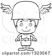 Lineart Clipart Of A Cartoon Black And White Happy Hermes Boy Boy Royalty Free Outline Vector Illustration
