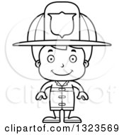Lineart Clipart Of A Cartoon Black And White Happy Boy Firefighter Royalty Free Outline Vector Illustration