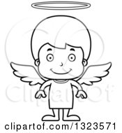 Lineart Clipart Of A Cartoon Black And White Happy Boy Angel Royalty Free Outline Vector Illustration