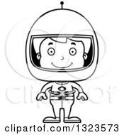 Lineart Clipart Of A Cartoon Black And White Happy Boy Astronaut Royalty Free Outline Vector Illustration