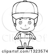Lineart Clipart Of A Cartoon Black And White Happy Boy Baseball Player Royalty Free Outline Vector Illustration