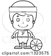 Lineart Clipart Of A Cartoon Black And White Happy Boy Basketball Player Royalty Free Outline Vector Illustration