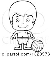 Lineart Clipart Of A Cartoon Black And White Happy Boy Beach Volleyball Player Royalty Free Outline Vector Illustration