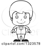 Lineart Clipart Of A Cartoon Black And White Happy Boy Businessman Royalty Free Outline Vector Illustration