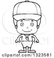 Lineart Clipart Of A Cartoon Black And White Happy Boy Sports Coach Royalty Free Outline Vector Illustration
