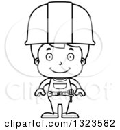 Cartoon Black And White Happy Boy Construction Worker