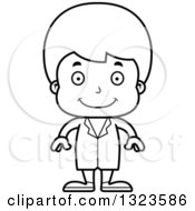 Lineart Clipart Of A Cartoon Black And White Happy Boy Doctor Royalty Free Outline Vector Illustration