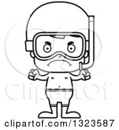 Lineart Clipart Of A Cartoon Black And White Mad Boy In Snorkel Gear Royalty Free Outline Vector Illustration