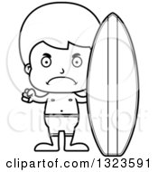 Lineart Clipart Of A Cartoon Black And White Mad Surfer Boy Royalty Free Outline Vector Illustration