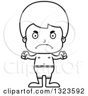 Lineart Clipart Of A Cartoon Black And White Mad Boy Swimmer Royalty Free Outline Vector Illustration