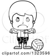 Lineart Clipart Of A Cartoon Black And White Mad Boy Volleyball Player Royalty Free Outline Vector Illustration
